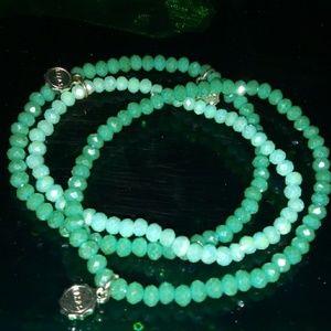 Jewelry - Three Matching Mint Green Czech Crystal Bracelets